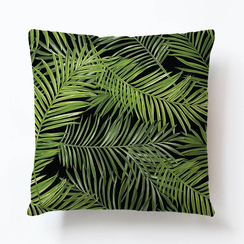 Foreign best selling fashion pillowcase tropical rainforest plant leaves Polyester Pillow Cover home decoration cushion cover in Cushion Cover from Home Garden