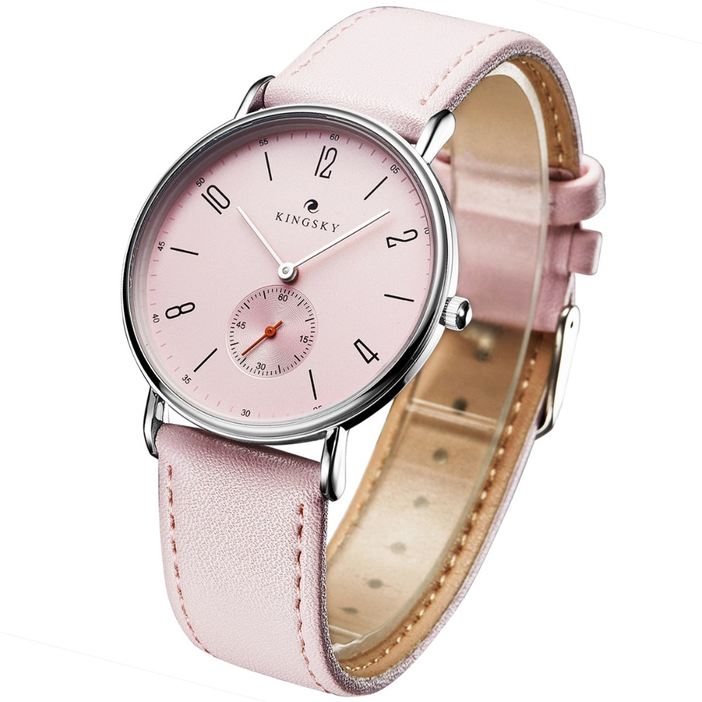 Cute Pink Women Watches Kingsky Casual Leather Strap Analog Quartz Watch Fashion Ladies Watches Small Seconds Relogio Feminino