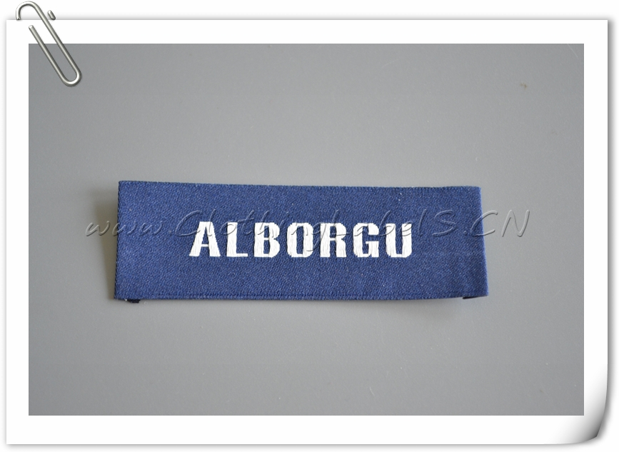 custom clothing labels for cusual men dress, selvage woven labels, brand name labels for clothing, double weaving logo