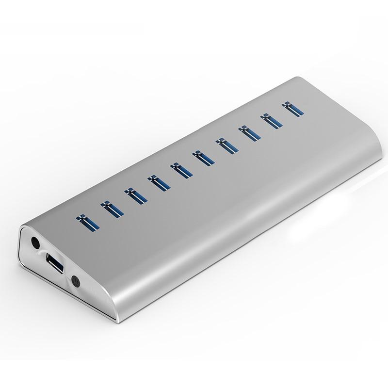 10 Ports USB3 0 HUB Super Multifunctional with 5GB High Speed USB 3 0 Aluminum Case