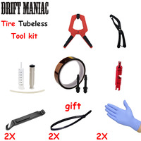 Bicycle Tubeless Tire Refit Set Contain Bicycle Tire Clamps Tubeless valve & Tape Bike Syringe For Sealant Injection