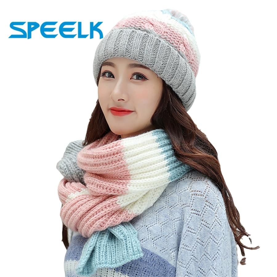 Winter Knit Hat Scarf Two-piece Women Velvet   Beanies   Cap Lady Warm Wool Ball Caps Sweet Cute knitted Earmuffs Hats Female