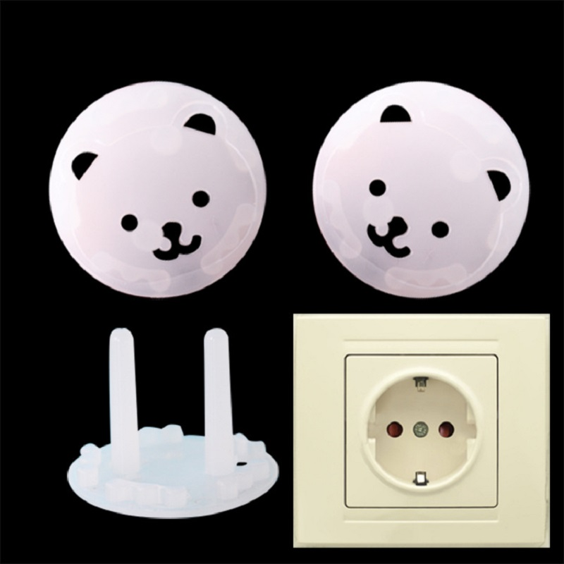 10pcs EU Power Socket Baby Safety Guard Protection Cartoon Bear Anti Electric Shock Plugs Protector Cover Cap Electrical Outlet