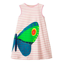 Summer Girls Dress Stripes Cotton Sleeveless Cartoon Butterfly Printed Cute Baby Princess Party Dresses