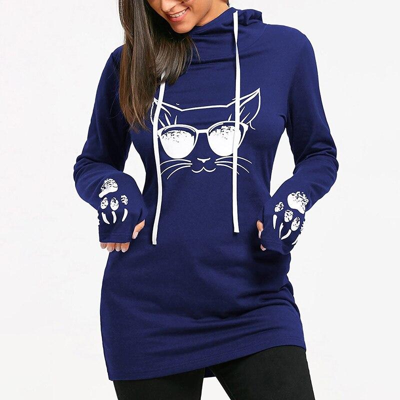 Bigsweety Cartoon Cat Printed Sweatshirt Autumn Long Sleeve Hooded Hoodies Solid Pullover Tops Womens New Casual Long Tops