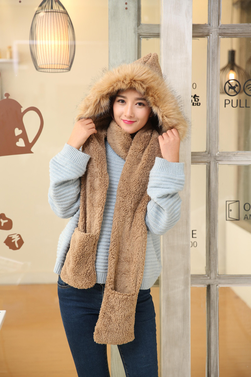 4de3382d603 2019 Winter Thickened Hat Scarf Glove Kit Plush Conjoined Imitation ...