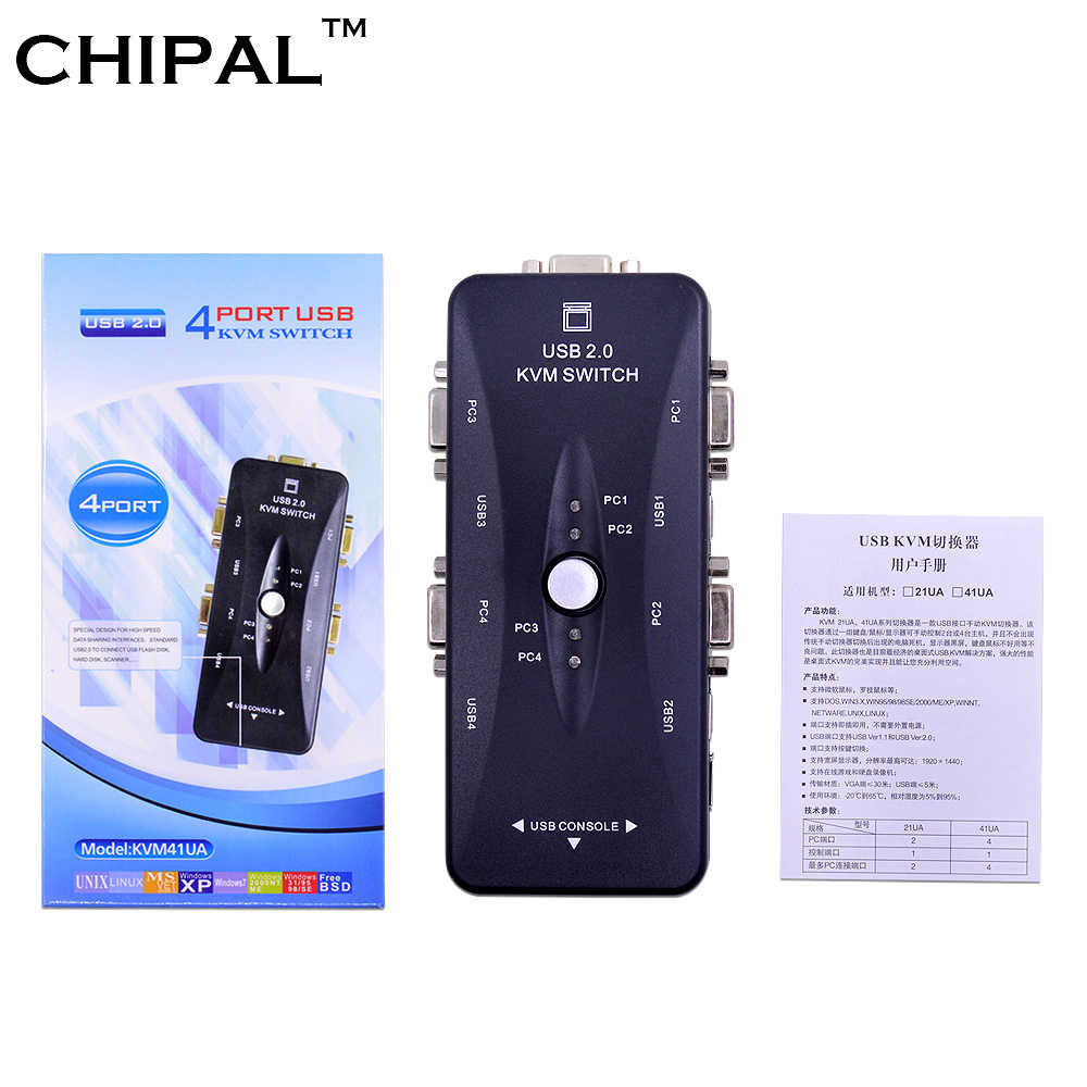 Chipal 4 Port USB 2.0 VGA KVM Switch Switcher Secara Manual 1920*1440 untuk Keyboard Mouse Monitor Adaptor 4 Komputer menggunakan 1 Monitor