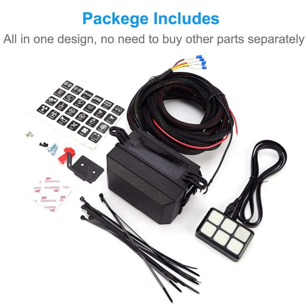 universal 6 gang switch panel 12v relay system control box waterproof fuse relay wiring harness kit [ 1000 x 1000 Pixel ]