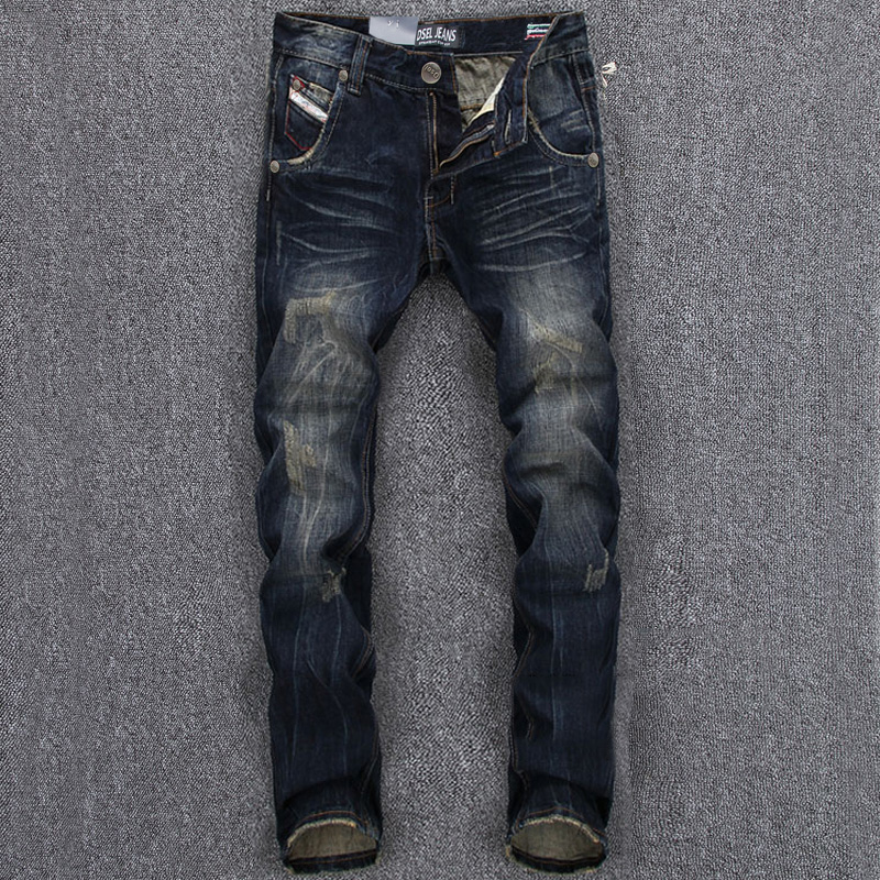 Italian Style Fashion Mens Jeans DSEL Brand Dark Color Slim Fit Ripped Jeans Men Casual Pants Vintage Retro Denim Men Jeans italian style retro design mens jeans pants dark color straight slim fit denim frayed ripped jeans men dsel brand biker jeans