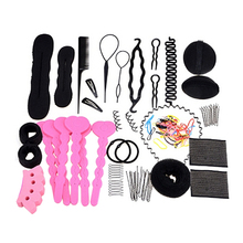 2016 New Product 20Pcs Women's Hair Styling Clip Hairpin Hair Comb Band Twist Tool Bun Maker Foam 9R65