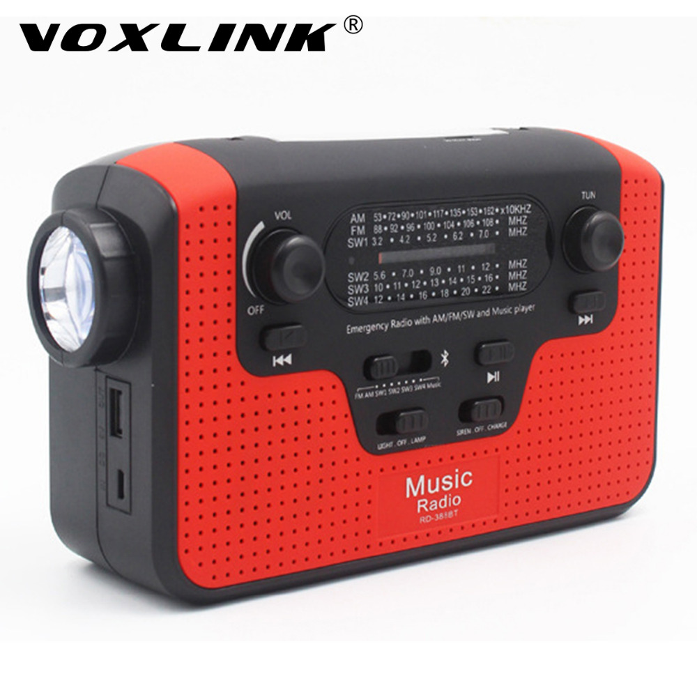 VOXLINK Portable Hand Crank Emergency Charger FM/AM/SW Radio Flashlight Reading Lamp Bluetooth Speaker with TF Card Slot portable radio hand crank emergency radio fm am sw receiver bluetooth speaker flashlight cellphone charger reading lamp y4380g