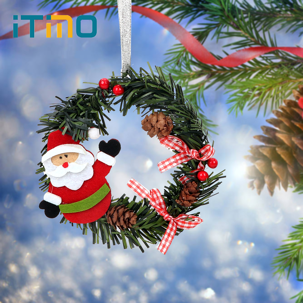 Christmas Wreaths.Us 1 21 26 Off Mini Xmas New Year Garland Diameter 11cm Xmas Wreath Merry Christmas Wreaths Nice Gift Christmas Wreath Cartoon With Pines In Pendant