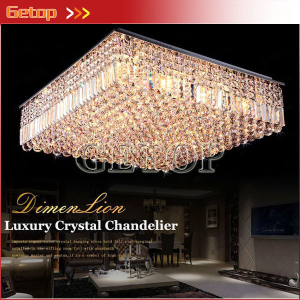 Best Price Modern K9 Crystal Chandeliers Square LED Lighting Fixtures Living  Room Restaurant Ceiling Lamp E14