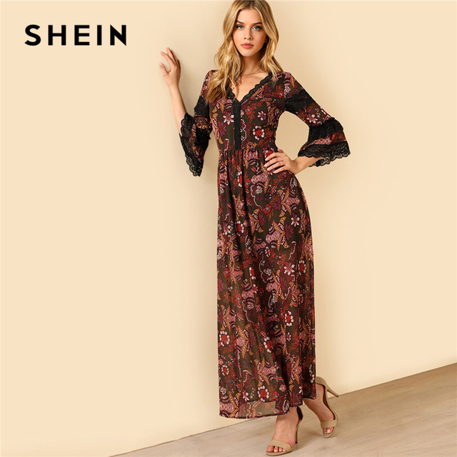 fb4eee22a2 SHEIN Ruffle Lace Flare Sleeve Maxi Dress Women Flora Print V Neck 3/4  Sleeve High Waist Tribal Dress 2018 Going Out Dress