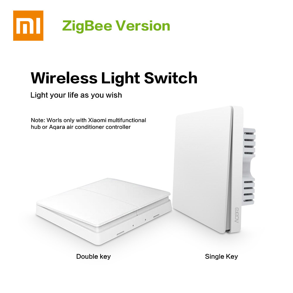 Xiaomi Aqara Smart Light Switch ZigBee Remote Control Switch Wifi Wireless APP Control Key Aqara Wall Switch Xiaomi Smart Home цена и фото