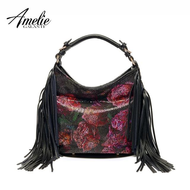 AMELIE GALANTI известный женская сумка формы half Moon кисточкой цветы женская сумка универсальный молния мягкий черный высокое качество сумки 2016