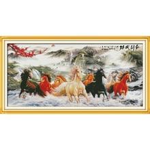 Amour éternel vous souhaitant tout le succès (8) Kits de point de croix chinois écologique coton estampillé bricolage cadeau nouvel an décorations