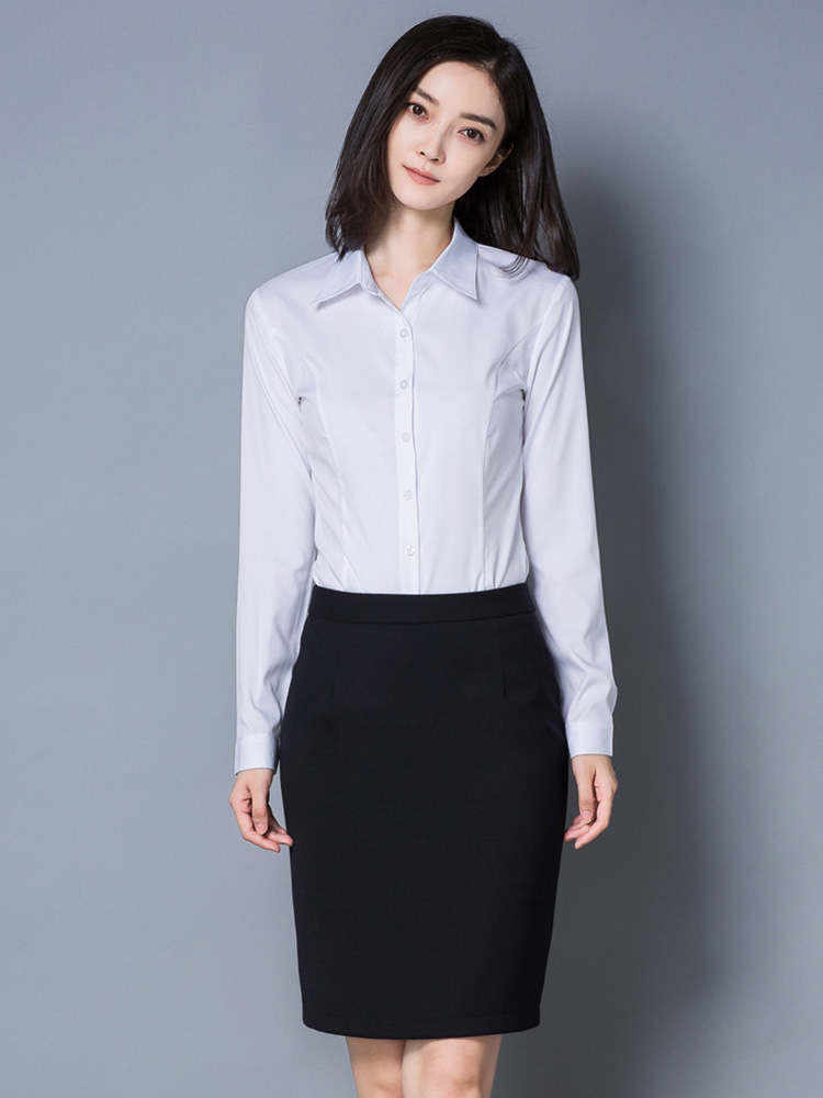 QIHUANG Women's White Blouses Long Sleeve Turn Down Collar Ladies Office Shirts Fashion Slim Fit Female Blouses S-3XL