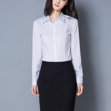 QIHUANG Women's White Blouses Long Sleeve Turn Down Collar Ladies Office