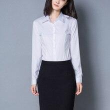 QIHUANG Women's White Blouses Long Sleeve Turn Down Collar L