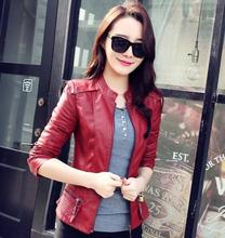 New Fashion Women Motorcycle Leather Jacket Coat Stand collar PU slim short outerwear coats T327