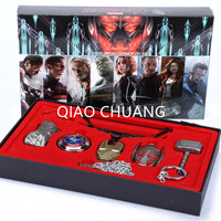 6pcs Set Avengers Age Of Ultron Cosplay Weapons Thor Hammer Necklace Metal Figure Model Collectible Toy
