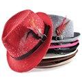 Moda 2017 Primavera verano sombreros de sun para las mujeres y para hombre jazz Tapa trenza Playa Del Verano de Paja sombrero de Panamá Sombrero de plumas diamond femal Topper
