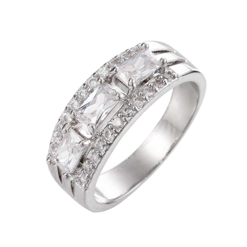 ขายเงินสีคริสตัล Rhinestone แหวนหินสีฟ้าคริสต์มาสของขวัญใหม่ปี Top Bague Femme anillos mujer