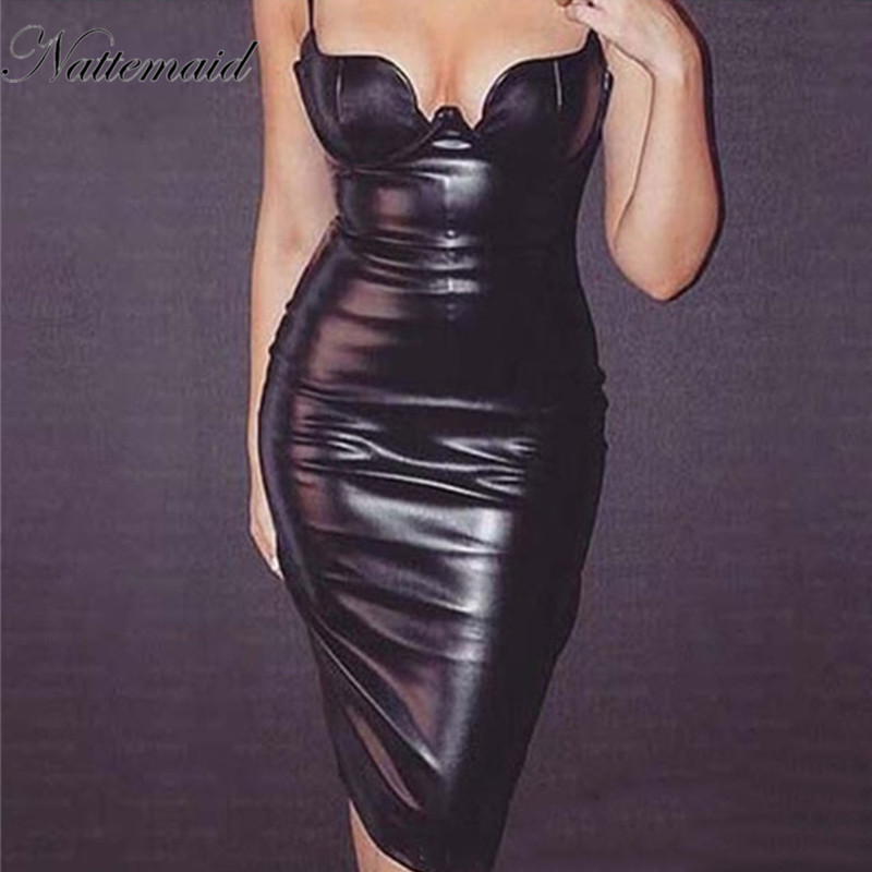 Nattemaid Women Black Sexy Bodycon Leather Dress Sexy -1153