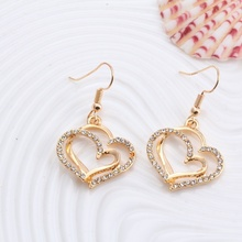 1 Set Creative Necklace Earring Sets Princess Bride Wedding,Fashion Luxury Crystal Charm Goldplated Silver Heart Accessories