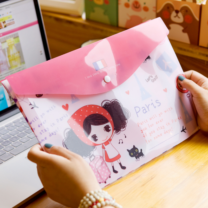Hearts . prayuth girl a4 file bags personalized cartoon plastic kits file folder