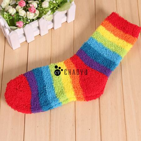 41bd5c9195b1 Thick Warm Cozy Fuzzy Chenille Striped Bed Socks   Slipper Socks for Women