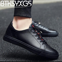 BTKSYXGS 2018 Men Casual Shoes FLATS 100 Genuine Leather Spring Autumn Fashion Comfortable Breathable Soft Bottom