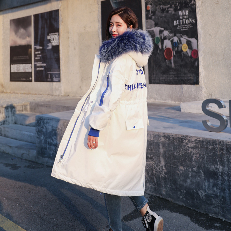2018 Time limited Real Polyester Long Zipper Winter Network Science Growth Fund Chic Woman School Wind Thickening Easy Cotton