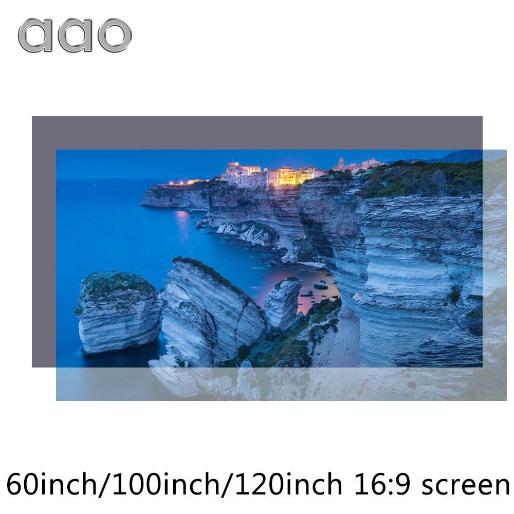 AAO Reflektierende Stoff Projektor Bildschirm 60 100 120 133 zoll 16:9 Proyector Bildschirm für XGIMI H1 JMGO J6S E8 Projetor hause Thearer