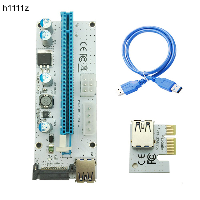 New White PCI-E Riser 008 Express 1X 4x 8x 16x Extender PCI E USB Riser 008S Adapter Card SATA 15pin for BTC Mining Miner