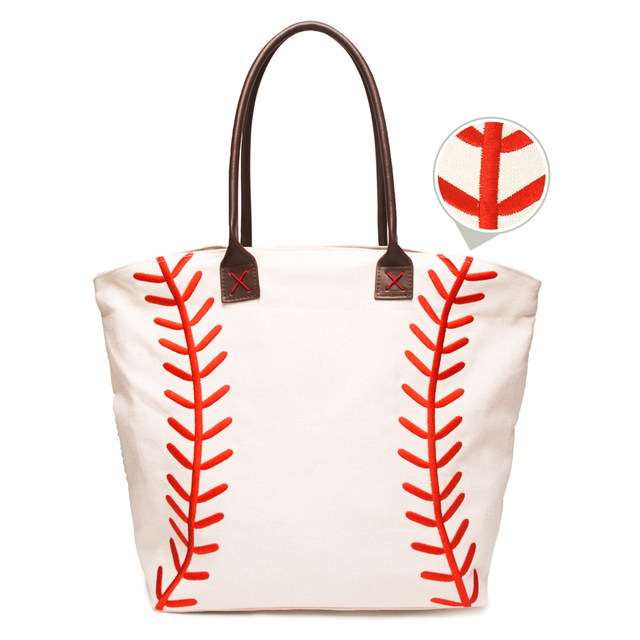 Pre Blanks Cotton Canvas White Sports Embroidery Roomy Baseball Mom Tote Bag Women Shoulder