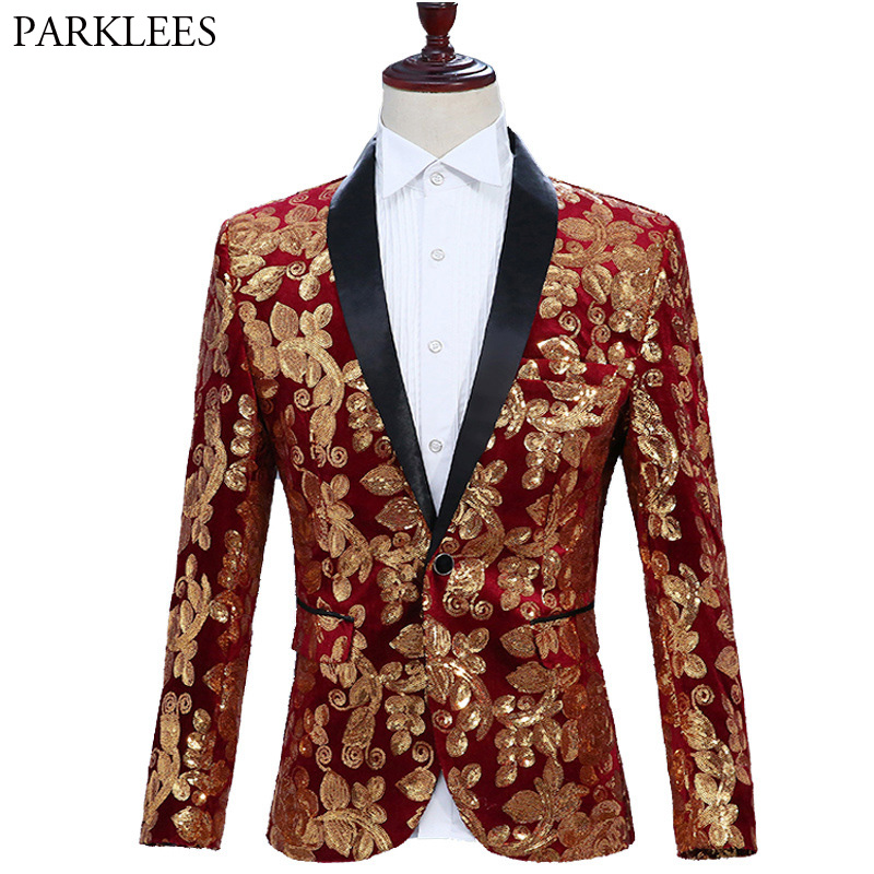 Mens Shiny Red Sequin One Button Blazer Jacket Nightclub Party Wedding Suit Blazer Men Dinner Party Stage Singer Blazer Hombre