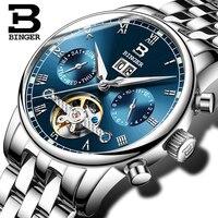 Suíça binger relógio masculino marca de luxo tourbillon fulll aço inoxidável resistente à água relógios de pulso mecânicos B-8604-5