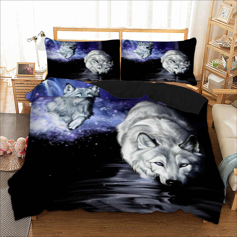 Home Textile Wolf Duvet Cover Pillow Cases Twin Full Queen King Super King Double Size Animal Bed Lines Bedding Set Bed Cover