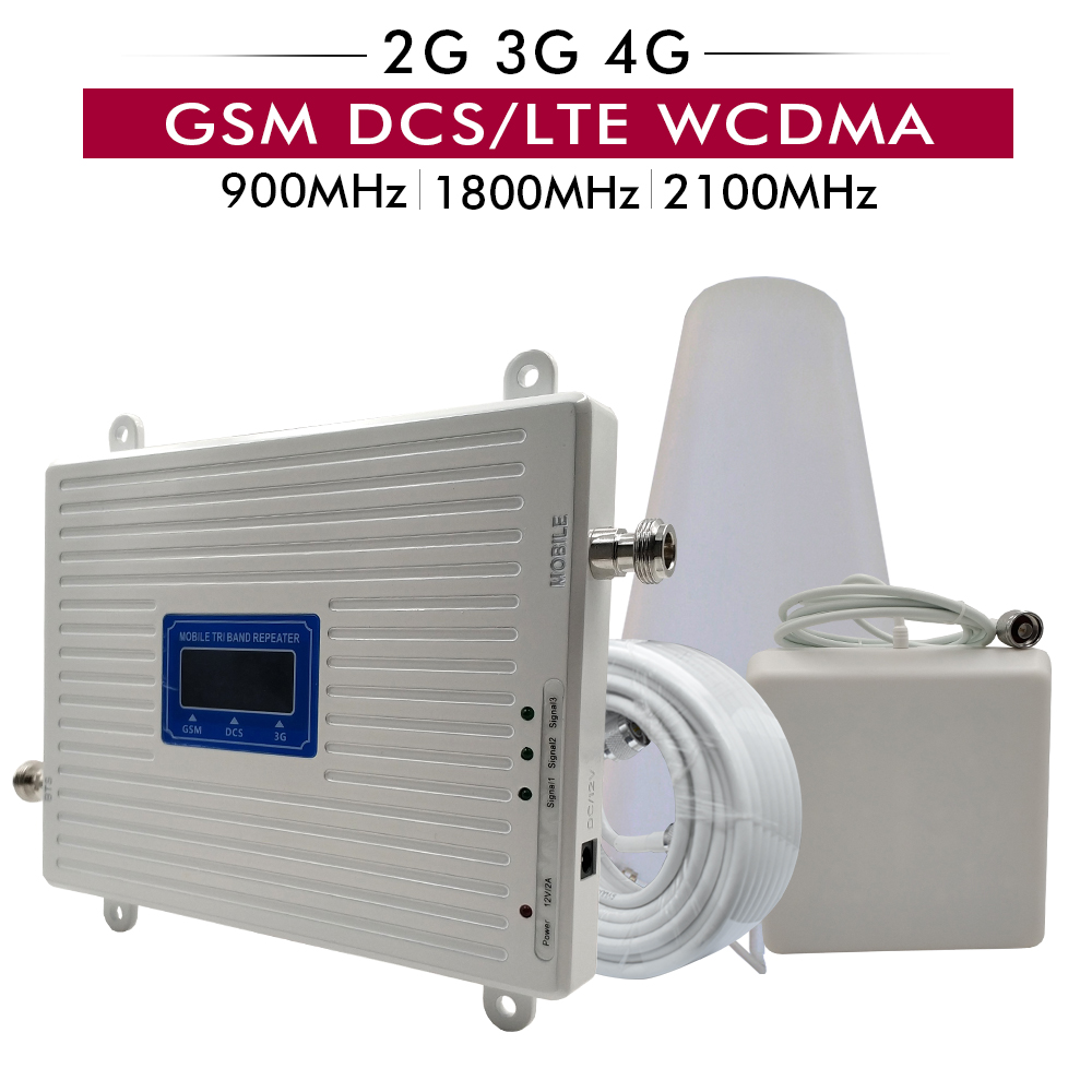 Tri Band Booster GSM 900+DCS/LTE 1800+UMTS/WCDMA 2100 Cell Phone Mobile Signal Repeater 2G 3G 4G Cellular Amplifier Antenna Set