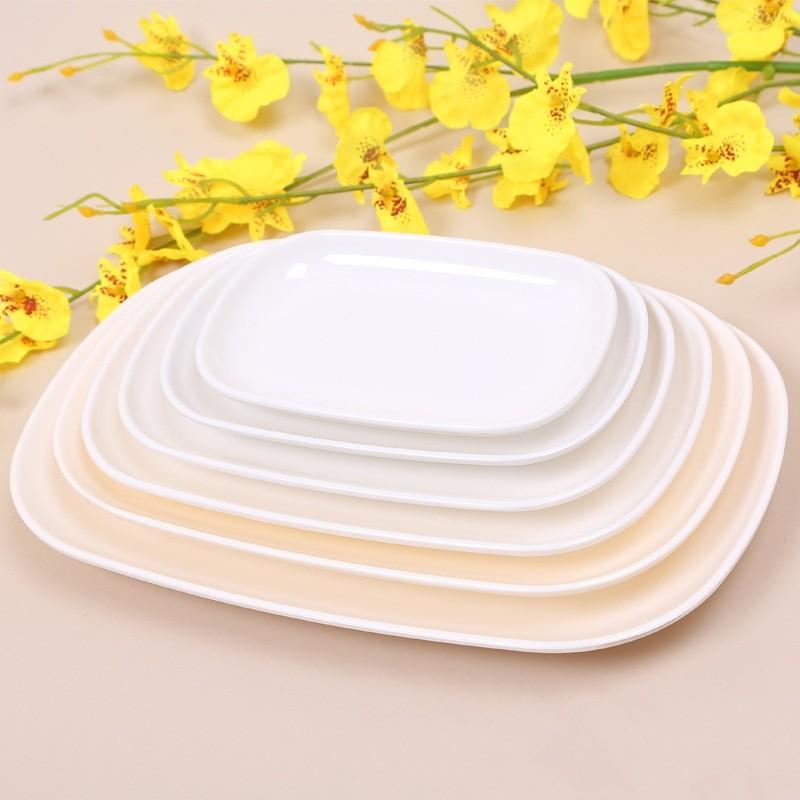 Melamine dishes rectangle plates dinner utensils kitchen for Cuisine melamine