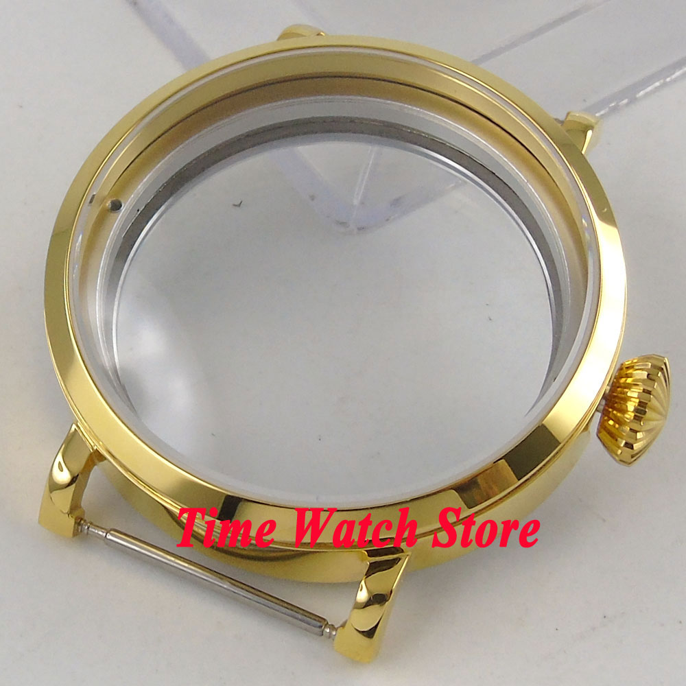 Parnis 46mm yellow golden stainless steel Watch Case Fit ETA 6497 6498 movement 144 46mm parnis stainless steel hardened mineral glass yellow golden plated watch case fit eta 6497 6498 movement