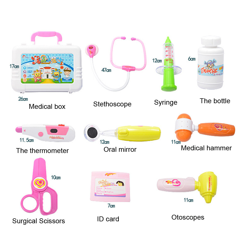 Hot sale 10pcs Kids Baby Doctor Medical Play Carry Set Case Education Role Play Toy Kid Educational Toy18Feb27
