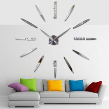 ФОТО 2018 artistic practical personality creative big mirror 3d diy large decorative wall clocks watch unique gift free shipping
