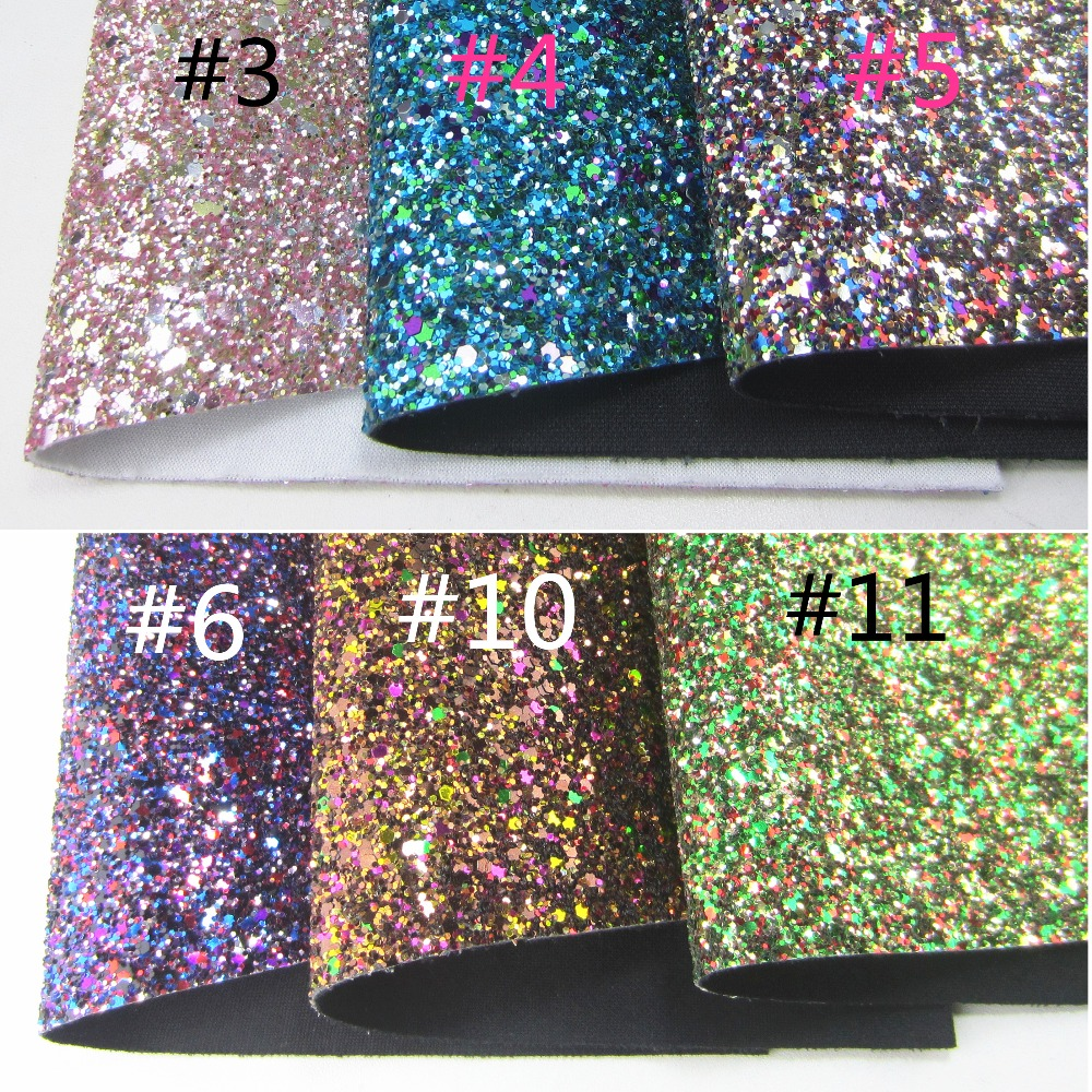 30cm X 134cm Mix Green Chunky Glitter Fabric Leather Faux PU Leather Fabric For Bows Christmas Tree Decorations DIY AY124