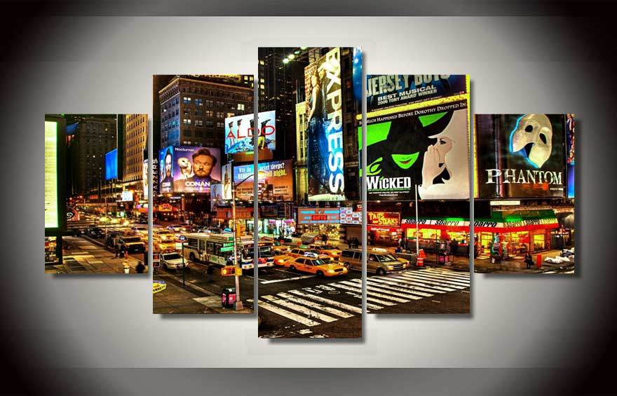 5pcs with framed printed new york times square dali canvas reproduction room print poster picture canvas. beautiful ideas. Home Design Ideas