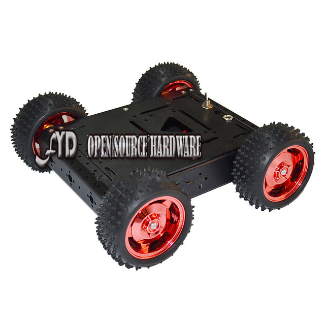 4WD Intelligent car chassis 15KG load (black) aluminum body off-road robot