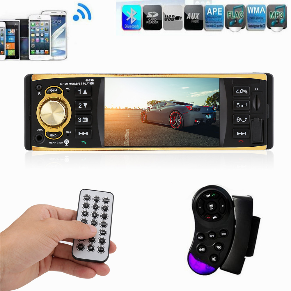 1 Din Car Radio 4.1 Inch  Stereo Player MP3 MP5 Car Audio Player Bluetooth Steering Wheel Remote Control USB AUX FM 12v 4 1 inch hd bluetooth car fm radio stereo mp3 mp5 lcd player steering wheel remote support usb tf card reader hands free