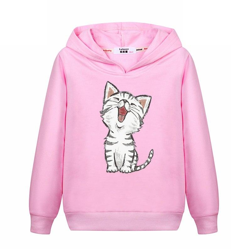 2021 New Sweet Cute Cat Print Hoodie Boys Hoodies Sweatshirt Pullovers Clothes Kids Girls Cotton Harajuku Kawaii Tops 3